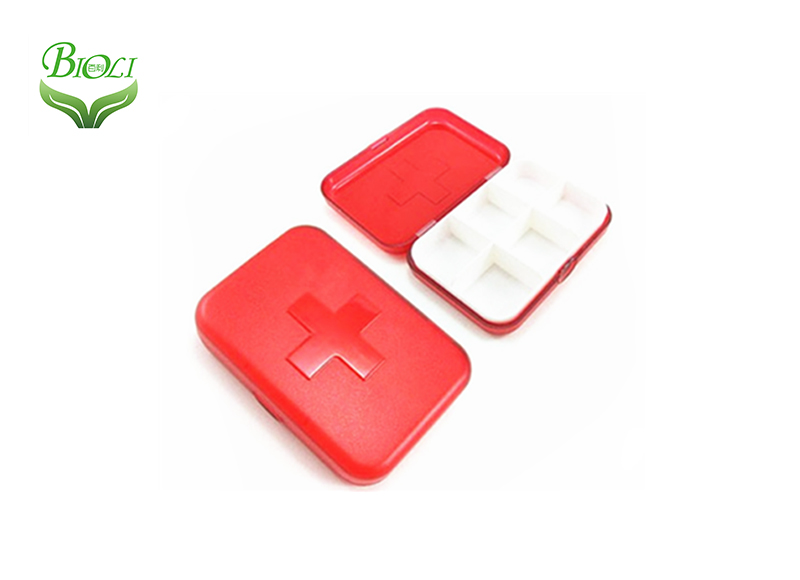 Plastic Pill Organizer 6 case red clear