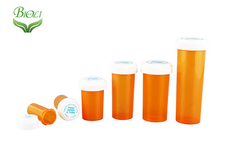 Child Proof Plastic Opaque Medicine Vials reversible vials