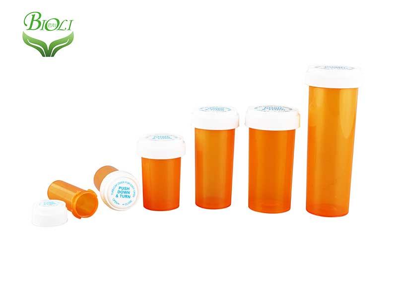 Child Proof Plastic Opaque Medicine Vials reversible vials