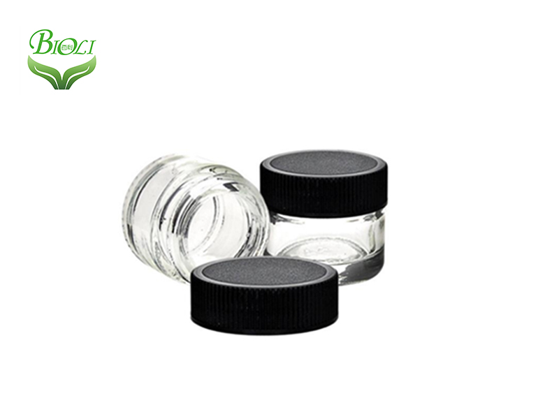 Child Proof Glass Cosmetic Jars Container with Black Lid