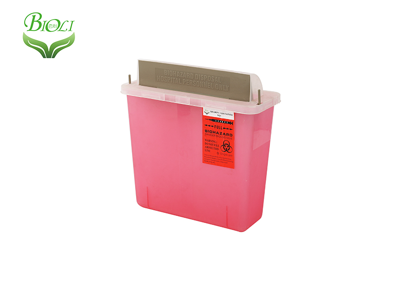 PP material Biohazard Plastic Sharps Container T series 4.6L /5QT