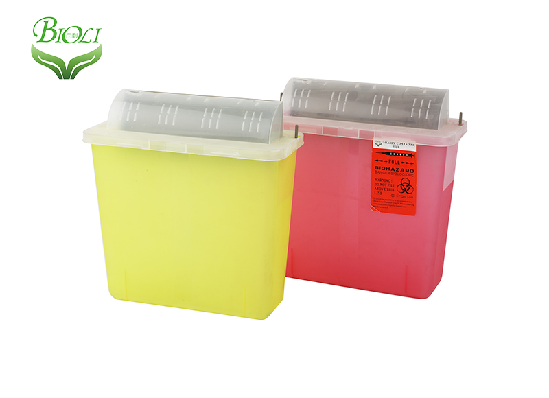 Medical plastic waste container sharp container and Sharps Boxes 5qt