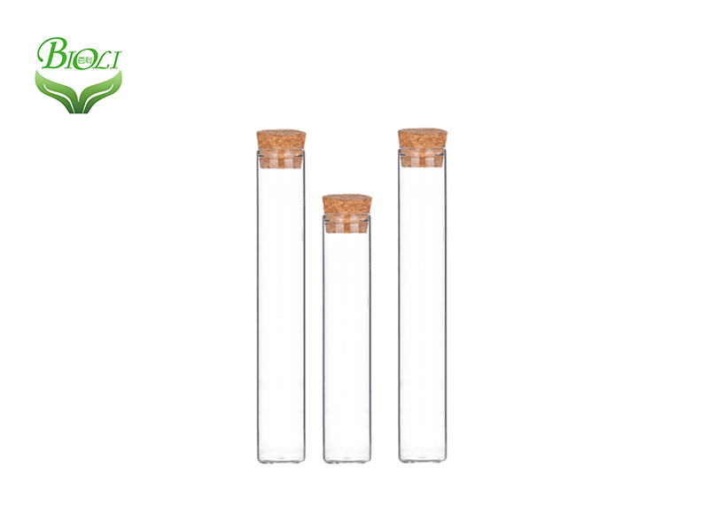 Child Resistant Clear Glass Pre-Roll Tube with Black Round Top Lid